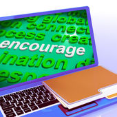 Encourage Word Cloud Laptop Shows Promote Boost Encouraged — Stok fotoğraf
