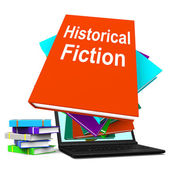Historical Fiction Book Stack Laptop Means Books From History — Stock Photo