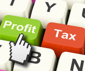 Profit Tax Computer Keys Show Paying Company Taxes — Stock fotografie