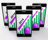 Graph 2014 Means Growing Sales And Earnings — Stock Photo