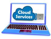 Cloud Services Memory Stick Laptop Shows Internet File Backup An — Stock Photo
