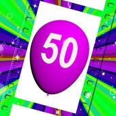 Balloon Shows Fiftieth Happy Birthday Celebration — Stock Photo