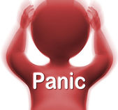 Panic Man Means Fear Worry Or Distress — Stock Photo