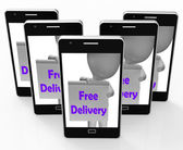 Free Delivery Sign Shows Item Delivered At No Charge — Stok fotoğraf