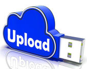 Upload Memory Shows Uploading Files To Cloud — Stock Photo