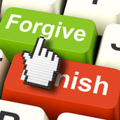 Punish Forgive Computer Shows Punishment or Forgiveness — Foto de Stock