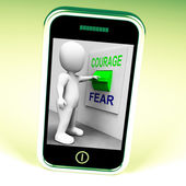 Courage Fear Switch Shows Afraid Or Courageous — Stock Photo