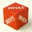 What Why When Dice Representing Questions And Choices — Stock Photo #8136361