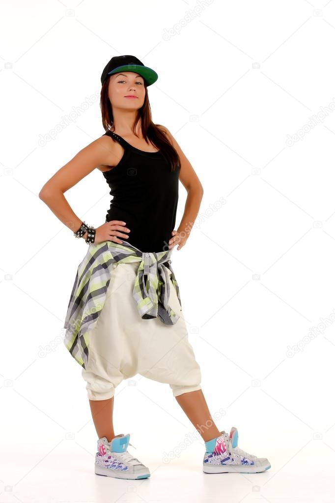 jeune femme attirante en tenue de hip hop photographie dmitryo 30910869. Black Bedroom Furniture Sets. Home Design Ideas
