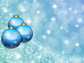 Christmas blue background with balls — Stock Photo