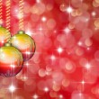 Christmas red background with stars and balls  — Stock Photo