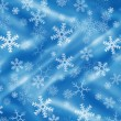 Blue background with snowflakes and drapery — Stockfoto