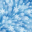 Firework of snowflakes. Blue backgrounddrapery — Stock Photo