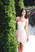 Girl in pink dress — Stock Photo