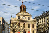 Small church with a clock in Geneva — Stock Photo