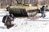 Military vehicle in chernobyl — Stock Photo