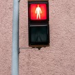 Red pedestrian lamp - Stock Photo
