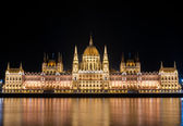 Night detail of the Parliament building in Budapest, Hungary — Stock Photo