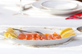 Raw salmon at the table — Foto Stock