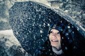 Beautiful girl in the snow — Stock Photo
