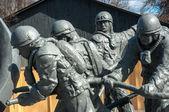 Statues of firefighters in Chernobyl — Stok fotoğraf