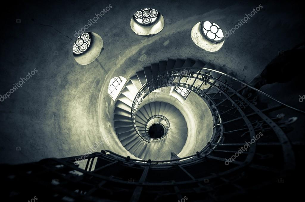 Round stairs in a church angle shot — Stock Photo #13886794