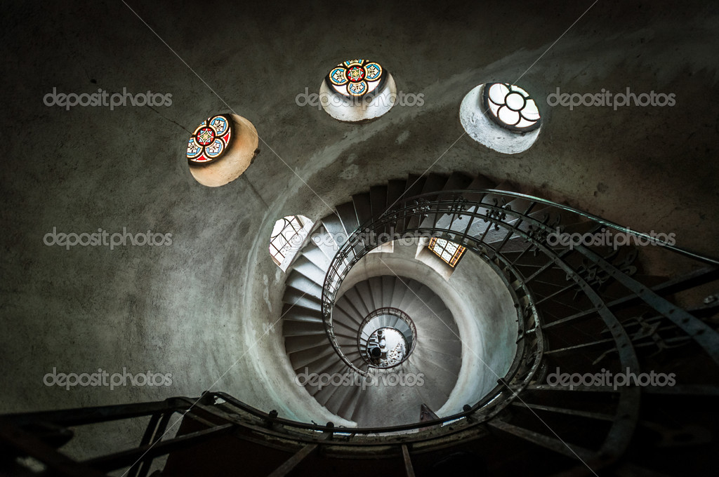 Round stairs in a church angle shot — Stock Photo #13887533