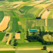 Agricultural field aerial view - Stock Photo