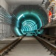 Underground tunnel with blue lights — Stock Photo