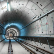 Underground tunnel with blue lights - Stock Photo