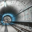 Stock Photo: Underground tunnel with blue lights