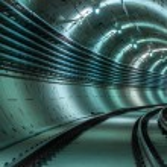 Underground tunnel with blue lights — Stock Photo #18058127