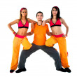 Group of joyful fitness instructors — Stock Photo