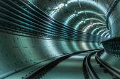 Underground tunnel with blue lights — Stock Photo
