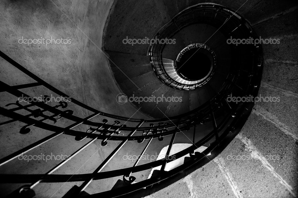 Round stairs in a church angle shot — Stock Photo #18057421
