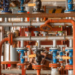 Industrial valve at gas distribution plant — Stock Photo
