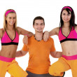 Young Fitness Instructors against white background — Stock Photo