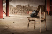 Modern gasmask in a room — Stock Photo