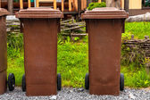 Trashcan outdoors in a park — Stock Photo