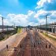 Stock Photo: Industrial train station from above