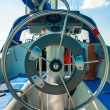 Steering wheel on a luxury yacht — Stock fotografie