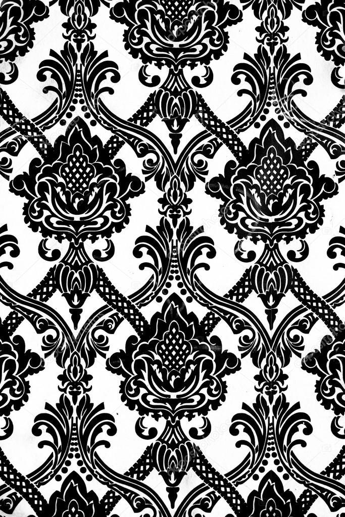 Patr n de papel tapiz vintage en blanco y negro fotos de - Papel de pared blanco y negro ...