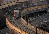 Public transport on the bridge — Stock Photo