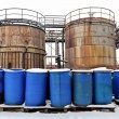 Chemical waste dump with a lot of barrels — Stok fotoğraf