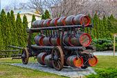 Beer transportation in wooden barrels — Stock Photo