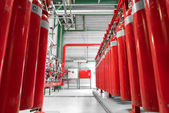 Large CO2 fire extinguishers in a power plant — Stock Photo