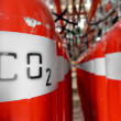 Large CO2 fire extinguishers in a power plant — 图库照片
