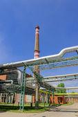 阳光与火力发电厂 — 图库照片