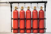 Large CO2 fire extinguishers — Stock Photo
