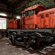 Freight train in garage — Stock Photo
